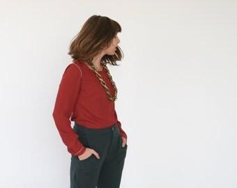 Clearance SALE/ Red chiffon top / Women Chiffon long sleeves blous / Winter fashion/ Size L