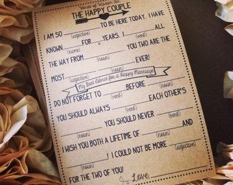 Set of 25 Printed Wedding Mad Lib Cards - Wedding Shower Game - Wedding Reception