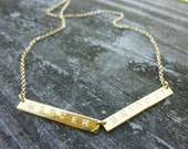 Double Bar Initial Necklace-Double Initial Bar Necklace-Initial Bar Necklace-Personalized Bar Necklace-Double Nameplate Necklace-Momentusny