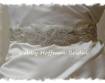 Rhinestone Crystal Wedding Dress Sash, Silver Beaded Bridal Belt, Wide Rhinestone Wedding Belt, Jeweled Bridal Sash, No. 1126S2-3020-18