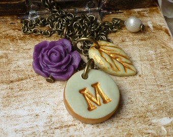 Letter necklace - Plum Sage and gold Initial necklace- Shabby Chic - Vintage Romantic jewelry