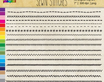 Sewn Stitches digital clip art  Personal and Commercial Use Clipart