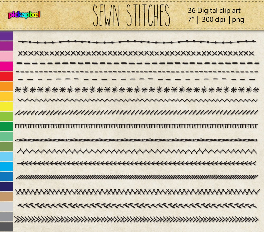 Sewn stitches digital clip art personal and commercial use