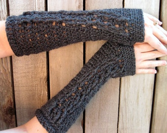 extra soft charcoal grey fingerless gloves with cable decoration