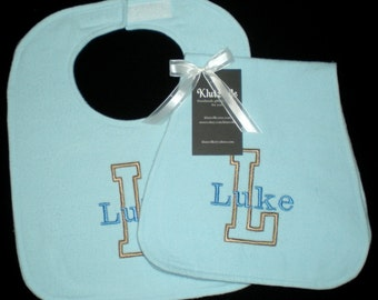 Personalized Bib Burp Cloth Set Handmade Name and Initial