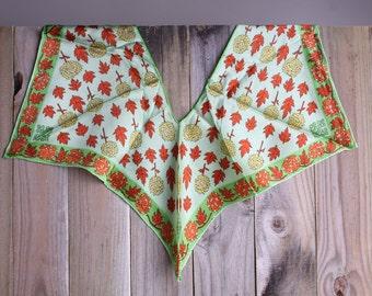 50s 60s Silk Scarf - Vintage Leaf Print Fall Scarf - Shoulder Scarf - Shawl - Baar & Beards, Inc.