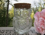 Clear Glass Owl Tumbler with Cork Stopper - Canister - Jar - Drinking Glass