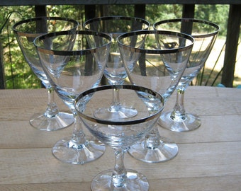 6 Fostoria Goblets in Wedding Ring Pattern - Crystal Champagne - Cocktail - Wine - Oak Hill Vintage