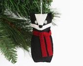 Felt Badger Christmas Ornament, Hand Sewn