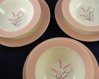 Pink Radiance Homer Laughlin - Dessert Set for Three