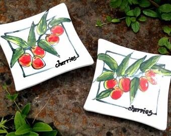 Cherries Majolica Plates Dishes (set of 2)  Stoneware