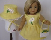 Crazy for Daisies! Yellow Dotted Sundress with Bonnet and Purse (DC5)