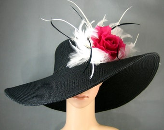 Kentucky Derby Hat with Dark Pink Rose and White Feathers,Derby Hat,BLACK Dress Hat ,Wedding Hat Wide Brim BLACK Hat Tea Party Hat Ascot