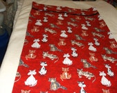 """CLEARANCE CATS Pillowcase std size (21 X 30"""") trimmed with solid black fabric trim, and red, black, white and beige"""