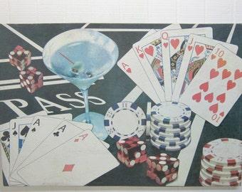Vintage Wall Decor Poker Hand Man Cave Wall Art