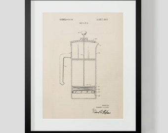 French Press Coffee Kitchen Patent Print 5