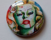 1 inch Pin Back Button - Marilyn Monroe Zombie Doll - Undead Horror Pin Up Badge