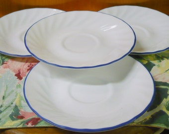 4 - Blue Velvet Rose - Corelle - Saucers - 6 1/4 Approx. - EUC - Price Is For All - Read Below