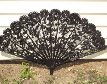 WALL FAN Decor,  Asian Wall Fan ,Shown in Black, or Choose a color to Match your Decor, 43 inches Wide