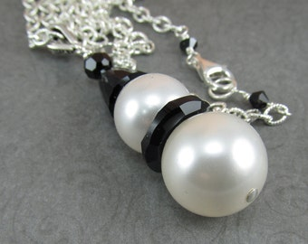 Black and White Swarovski Snowman Long Silver Necklace Winter Jewelry