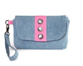Denim Wristlet with Pink Accents, Women's Wristlet Wallet, Small Purse in Blue and Pink, Casual and Comfortable Hand Bag