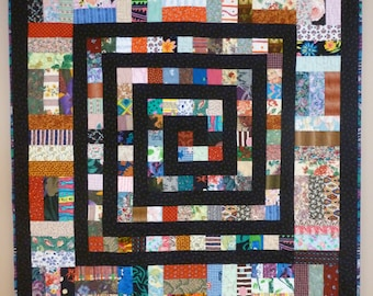 Muliti Color Spiral Scrap Quilt