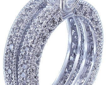 14k white gold round cut diamond engagement ring and band antique style 1.80ctw