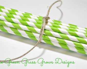 Lime Green and White Paper Party Straws