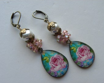 Pink Roses Earrings Shabby Chic Pink Swarovski Earrings  ©2016 DonnaJameson