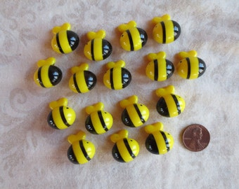 16 Yellow & Black Roly Poly Bees Plastic Game Pieces