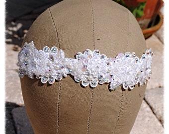 Ivory White Swarovski Crystal Hand Sewn Beaded Floral Wedding Bride Dancer Costume Headband