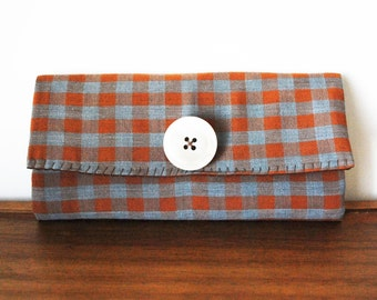 Upcycled Dusty Blue and Rust Brown Cloth Trifold Clutch Wallet with Button