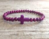 Purple Cross Bracelet, Beaded Bracelet, Sideways Cross, Stackable Bracelet, Purple Bracelet, Bohemian Bracelet, Bohemian Jewelry