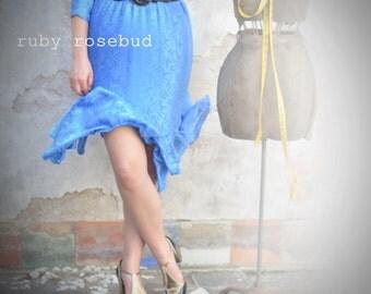 Vintage Soft Blue Ruffled Dress