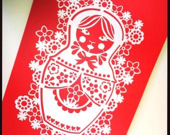 A4 Red Russian Doll Paper Cut Art Print