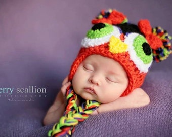 Newborn Owl Hat, Fall Colors, Photo Prop, Baby Owl