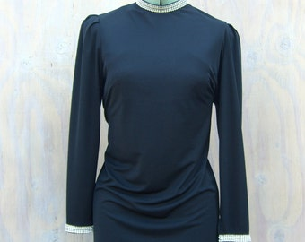 Little Black Dress, Rhinestone Trim, Vintage Sheath LBD, Caron Chicago 1960s 1970s, Vintage Cocktail Dress