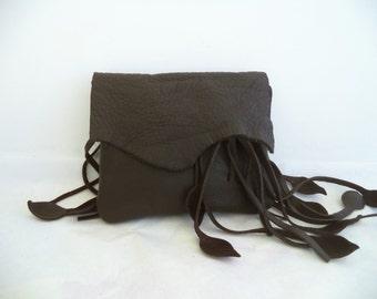 chocolate brown leather handbag, hip bag, belt bag with leaf fringe by Tuscada. Made to order.