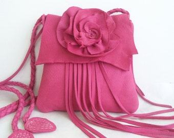 Pink deerskin leather shoulder purse with rose flower and fringe, by Tuscada. Ready to ship.