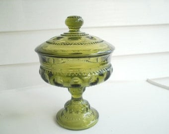 Vintage Colony Green Kings Crown Wedding Bowl with Lid, Footed Compote Dish
