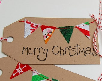 Christmas Gift Tags, Holiday Gift Tag, Fabric Gift Tag, Christmas Decor, Christmas Bunting, Christmas Wrapping