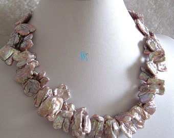 Pearl Necklace -18 Inches 15-15mm Lavender Keshi 2Row Freshwater Pearl Necklace F- Free shipping