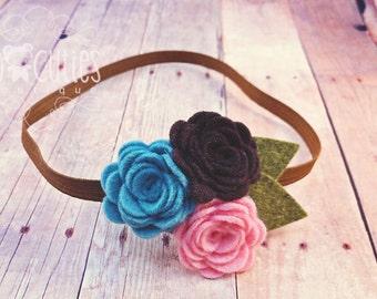 Pink / Brown / Blue Felt Flower skinny elastic headband / baby headband / newborn headband.