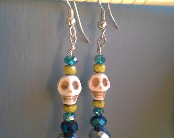 Blue & Green Skull Bead Earrings: Set 1