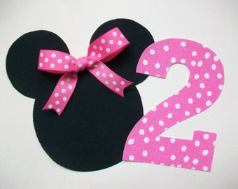 Iron On Minnie Mouse Applique with Ribbon Bow and Number