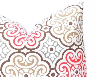 Pillows, Decorative Throw Pillow Cover Home Decor Coral Tan Brown Cushion Cover Toss Pillow One All Sizes Floral Pillow