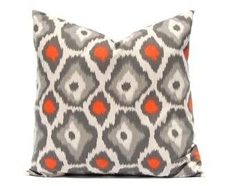 Euro Sham Orange Pillow, Throw Pillow Cover, Decorative Pillow Cover Orange Taupe on Linen Cushion Cover Fall Pillows Ikat Pillow