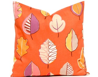 Fall Pillow Cover, Orange Pillow Cover, Leaves on Orange,Throw Pillow Cover, Holiday Decor, Orange Cushion Covers,  Fall Decor, Autumn Decor
