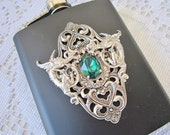 BLACK HIP FLASK Emerald  Swarovski Crystal  Dragon Flask