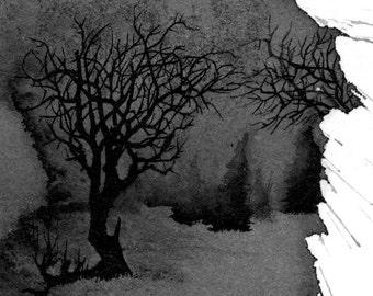 Winter Scene 2 - Original Ink Drawing